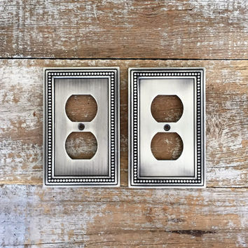 Outlet Covers 2 Silver Outlet Covers Stainless Steel Outlet Plate Electrical Outlet Covers Home Improvement Outlet Cover Switch Plate