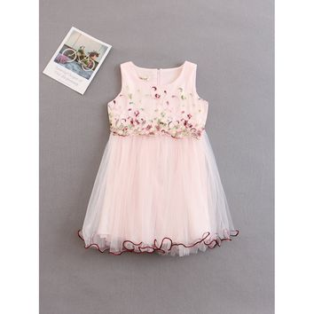 Kids Floral Embroidered Tulle Dress