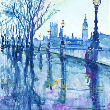 London , watercolor painting, rain in the city , british décor, art print, Illustration, Cityscapes, Wanderlust, big ben, rainbow, blue