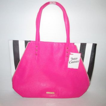 JUICY COUTURE FRAGRANCES PROMO PINK BLACK WHITE VINYL TOTE BAG CANVAS 2 STRAP