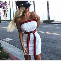GUCCI Trending Women Sexy Stylish White Strapless Backless Show Body Dress