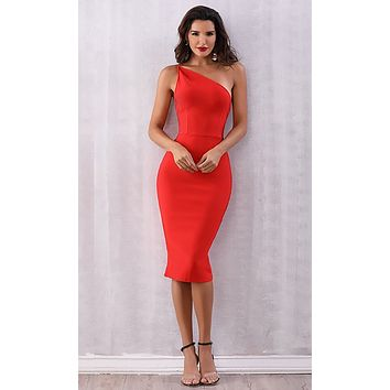 Outshining Everyone Red Sleeveless One Shoulder Double Strap Bodycon Bandage Midi Dress