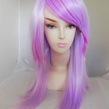 ON SALE // Light Purple and Bright Neon Violet / Long Straight Layered Wig