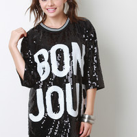 Bon Jour Sequin Short Sleeves Shift Dress