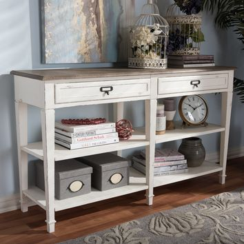 Baxton Studio Dauphine Provincial Style Weathered Oak and White Wash Distressed Finish Wood Console Table Set of 1