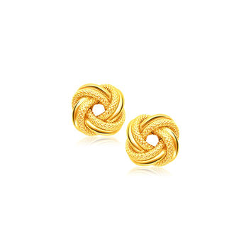 Dual Textured & Glossy Love Knot Stud Earrings in 14k Yellow Gold