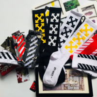 12PCS OFF-WHITE Cushion Crew Socks FOR WOMEN MEN