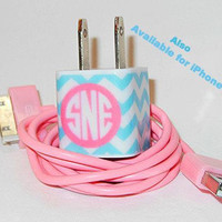 Blue Chevron iPhone Charger with Monogram Initials and Pink USB Cable