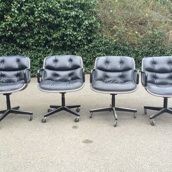 20 Knoll Pollock Black Leather Office Chairs