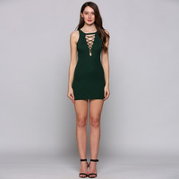 Knitting O-Neck Sleeveless Solid Front Lace Up Mini Going Out Dress