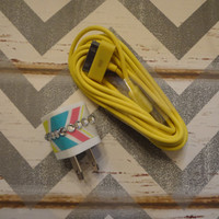 New Super Cute Multi Colored Chevron Jeweled Wall iphone 4/4S 10ft Cable Charger Great Stocking Stuffers