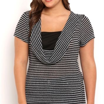 Plus Size Short Sleeve 2fer Top with Deep Cowl Neck