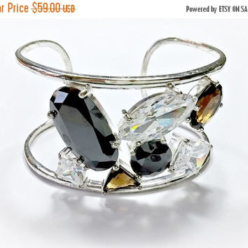 Contemporary Sterling Silver Wide Cuff Bracelet Earth Tones Fully Faceted Rhinestones Sparkle Brilliantly in Clear, Black, and Smoky Quartz
