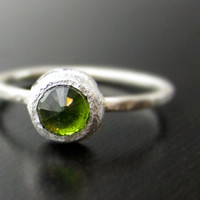 Citrus Green Rose Cut Tourmaline in Recycled by valkasinskas