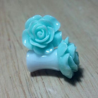 Buy 2 Pairs/Get 3rd FREE! Turquoise/Teal/Blue Pastel Small Flower Rose Plugs/Gauges 10G 8G 6G 4G 2G 0G 00G 1/2 9/16