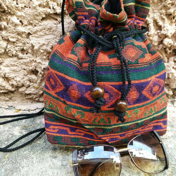 On Sale Aztec Tribal Cross body drawstring Festival Bags Purse Boho Fashion Gypsy Folk Style Phone Hippie Ethnic Pouch Bohemian Handbag Hobo
