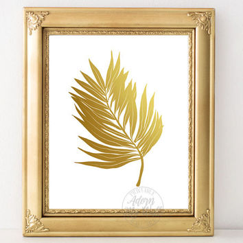 Instant download, tropical print, wall art, palm print,  tropical leaf print, palm leaf print, printable art, home decor, gold foil print
