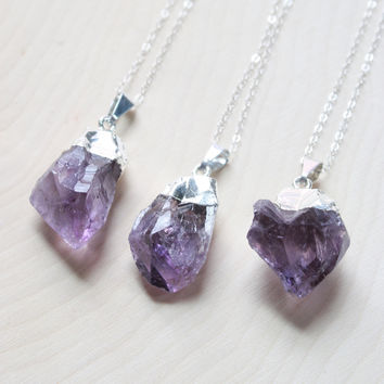 Silver Amethyst Crystal Necklace