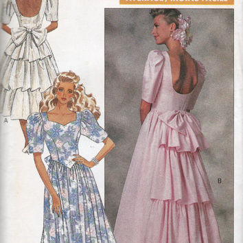 80s prom dress Low Back Ruffles Vintage Sewing Pattern Butterick 6939 Size 12 14 16 UNCUT FF