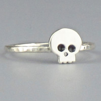 Rustic Skull Sterling Silver Ring  Free by FancyBrandRings on Etsy