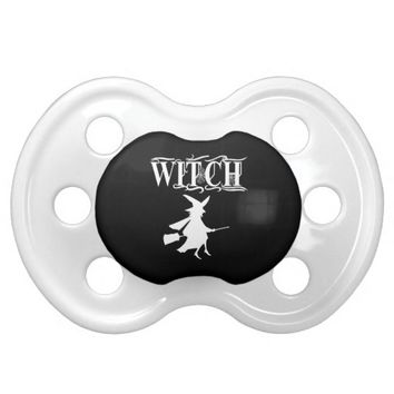 Customizeable Halloween Witch Text Typography BooginHead Pacifier