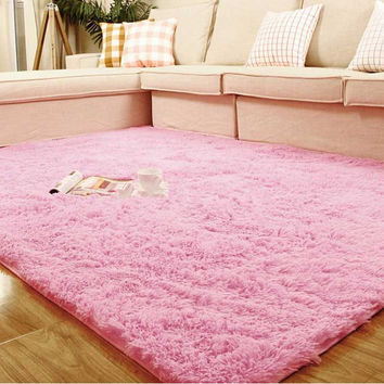 1pc  80*120cm Super Soft Plush Fabric Solid Rectangle Carpet Floor Rug Living Room Carpet Area Rug 7 Color Available  H0806