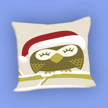 Christmas Owl for Pillow Case, Pillow Cover, Custom Pillow Case **