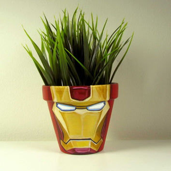 "Hand Painted Flower Pots, Iron Man flower pot, personalized flower pot, acrylic on a 4"" flower pot"