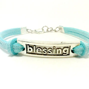 Blue Blessing Bracelet, Inspirational Bracelet, Jewelry with Words, Blue Bracelet, Friendship Bracelet, Charm Bracelet, Religious Gifts