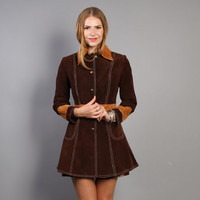 60s 2-Tone LEATHER JACKET / Boho Fitted Brown Mini Suede Princess Trench, xs-s