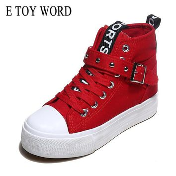 E TOY WORD High Top Canvas Women Shoes Fashion Solid casual shoes Lace-Up Height Increasing Platform Trainers Chaussure XDA4056