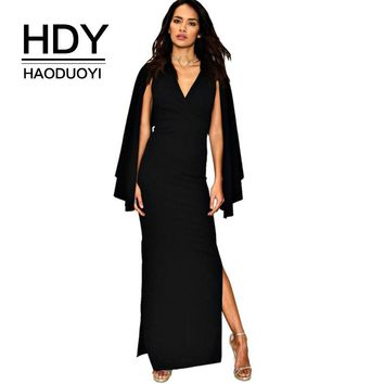 Women Cape Open Sleeve Dress Long Evening Party Female Maxi Dress Black High Slit Dresses