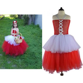 Child Little Red Riding Hood Costume 90cm-140cm Girls Tutu Dress Tulle Skirt Photography Girl Clothing Halloween Costume For Kid