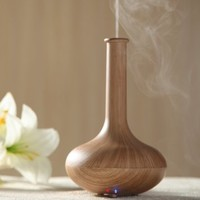 Paper&wood Ages®Aromatherapy Essential Oil Diffuser Ionizer Air Humidifier/Wood Grain Style/Super Fine & Smooth Mist Version,light brown(Vase Shape)
