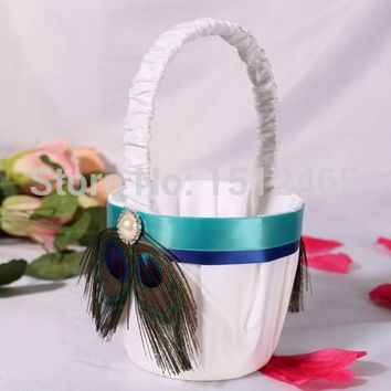 Free shipping,New arrived Peacock Feather White Wedding  Flower Girl Basket  wedding christmas decorations  WS12