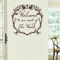 Wall Decal Welcome to Our Neck of the Woods Woodland Wreath Vinyl Wall Decal 22214