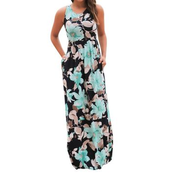 SHIPS FROM USA Boho Floral Print Maxi Dress SHIPS FROM USA
