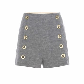 Embellished wool shorts