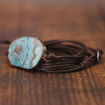 Handmade Ocean Stone Rope Wrap Bracelet Jewelry Natural Stone Tube Beads Leather Bracelet Gift Drop Shipping