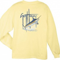 Guy Harvey GH Blue Long Sleeve  Back-Print T-Shirt