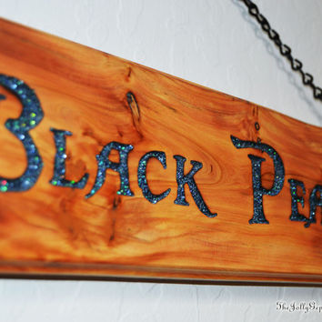 Black Pearl Pirate Sign with Black Chain for Hanging, Carved Rocky Mountain Juniper Wood, Pirates of the Caribbean, by The Jolly Geppetto