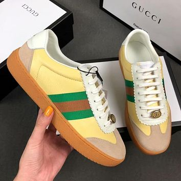 GUCCI New Popular Women Men Personality Leather Sport Shoes Sneakers Yellow