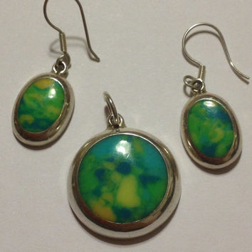 Calcite Sterling Earrings Pendant Set Silver Green Yellow Stone Mexico Mexican 925 Southwestern Vintage Jewelry Gift Boho Circular Geometric