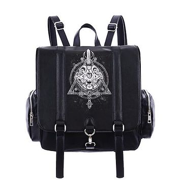 Occult Black Backpack, Cat skull, Moon, Gothic, square backpack