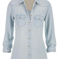 chambray button down shirt in light wash