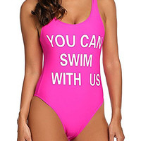 You CAN SWIM WITH US Pink Swimsuit