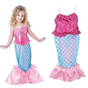 Hot Little Mermaid Kids Girls Tail Bikini Bathing Lovely Swimsuit Beach dress clothes Costumes 4-12 years