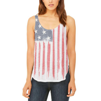 4th of July Distressed Brushed American Flag Juniors Flowy Side Slit Tank Top