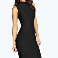 Anya Bandage High Neck Midi Bodycon Dress