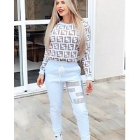 FENDI New Fashion Women Casual Long Sleeve Top Pants Trousers Set Two-Piece Sportswear